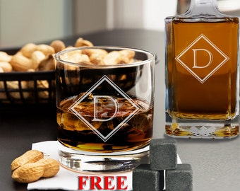 Personalized Whiskey Glasses Set of 2, Groomsmen Gift, Custom Whiskey Glass, Engraved Whiskey Glass, Whiskey Stones, Wedding Gift