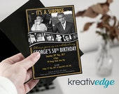 SURPRISE BIRTHDAY INVITATION Black & Gold with photos - 30th, 40th, 50th, 60th, 70th, 80th birthday invitation! Digital File Only
