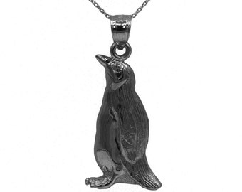 10k Black Rhodium Gold Penguin Necklace with Thin Black Rhodium Gold Chain, Bird Jewelry Large Necklace for Men, Animal Jewelry Gift