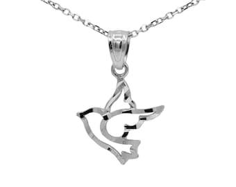 10k White Gold Dove Necklace