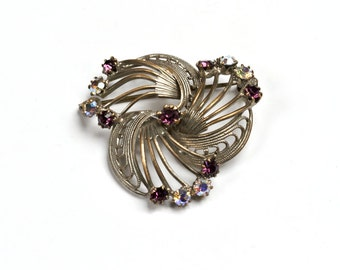 Brooch, filigree rhinestone