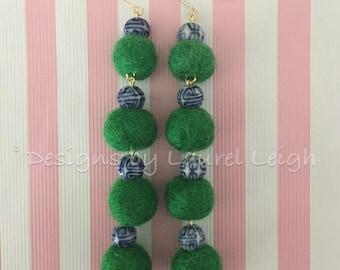 Pom Pom Earrings | Mini, KELLY GREEN, chinoiserie, GREEN, blue and white, porcelain, Chinese, delft, gold, beaded, dangle, pompom, bonbon