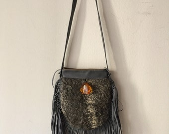Gray crossbody women's bag, from real astrakhan fur, leather & leather fringe, old leather, with decoration- ambers, winter bag, size-small.