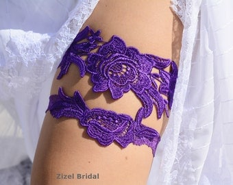 Purple Garter, Wedding Garter, Lace Wedding Garter, Purple Garter Set, Lace Garter Set, Bridal Garter, Wedding Garter Set, Handmade Garter