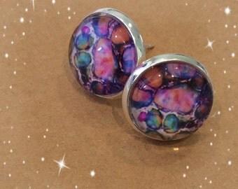 Pink Opal 12mm Cabochon Stud Earring