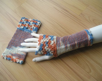 Arm cuffs with thumb hole and crochet trim, orange/blue/white mottled, cotton
