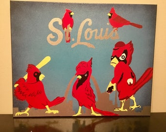RED BIRDS Nation - Hand Painted Canvas
