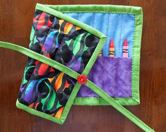 Fish Crayon Roll, Fish Crayon Holder, Rainbow Crayon Roll Up, Crayon Tote, Animal Crayon Tote, Black Purple, Tropical Fish, Gender Neutral
