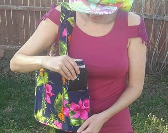 Tropical flowers vs bird cage bag, bright colors, pink, lavender, woman's gift, reversible tote, diaper, travel, book, purse, pocket, zipper