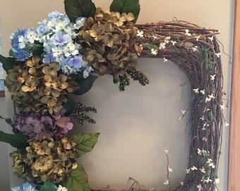 Square grape vine wreath