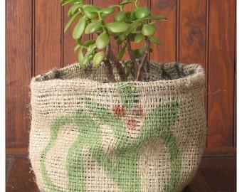 Repurposed Burlap Planter