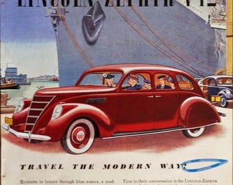 1937 Lincoln-Zephyr V12 ad.  1937 Lincoln Zephyr.  Vintage Lincoln Zephyr V12.  Full color, illustrated.