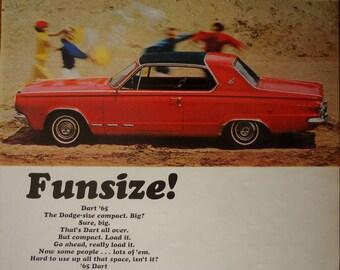 1965  Dodge Dart ad.  1965 Dodge Dart.  Dodge Dart 2 door compact car.  Life Magazine.  October 30, 1964.