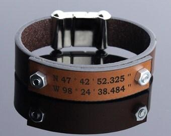 Personalized Coordinate Leather Bracelet, Custom Bracelet, Anniversary Gift, Coordinate Jewelry, Engraved Bracelet, Mens Jewelry, Mens Gift