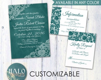 Lace Wedding Invitations - ANY COLOR