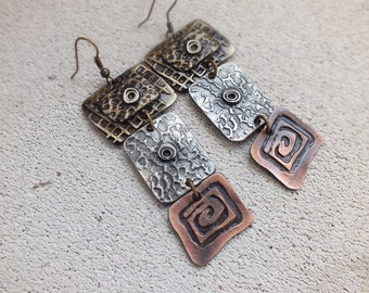 Boho Earrings/ mixed metal earrings/ copper silver and brass hammered /Metal earrings