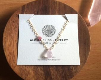 Rose Quartz Pink Tourmaline Necklace Hawaii Jewelry Gemstones