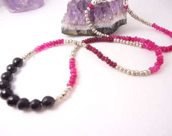 Hot Pink Chalcedony Necklace Garnet Necklace Silver Pyrite Necklace Gift For Her Beaded Necklace Gemstone Necklace Gemstone Jewelry Multi