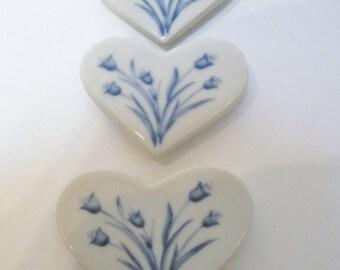 Vtg Russ Berrie Ceramic Heart Magnets, Heart Shaped Magnets,  Collectible Heart Magnets,Russ Berrie Ceramic Magnets, Refrigerator Magnets