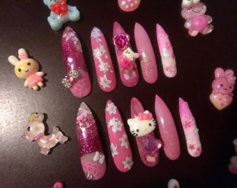 Pink kawaii gyaru gel false nails hello kitty