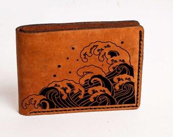 Waves Wallet Mens Leather Wallet Waves Wallet Bifold Wallet Engraved Personalized Custom Wallet Anniversary Gift Man Waves Wallet Japan