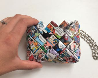 Recycled Mickey Mouse comic book coin purse, disney coin purse, Eco Friendly coin purse,candy wrapper coin purse, recycled comic book