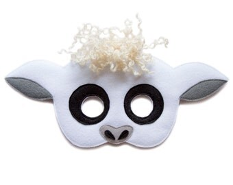 White Sheep mask, children lamb costume, adult mutton mask, felt Sheep mask, Farm animal mask, sheep costume, wether mask, Halloween mask