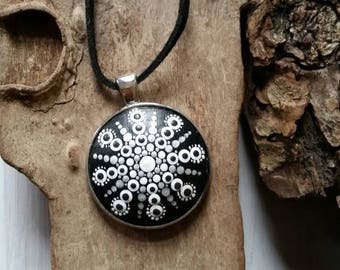 Mandala stone beads black hand painted silver version Festival hippie Bohemian