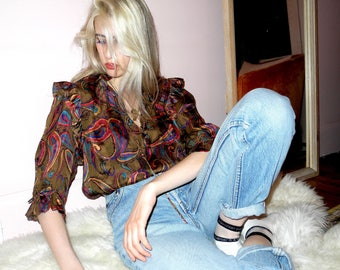 Marc D'Alcy 1970s silk ruffle blouse