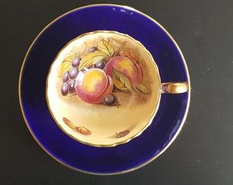 Aynsley, Tea cup and saucer, dark blue with  fruits, Vintage tea cup, Gift idea, D.Jones tea cup,gold trim,