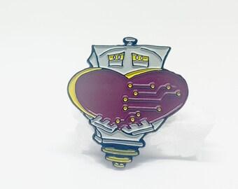 Robot with Heart Soft Enamel Lapel Pin