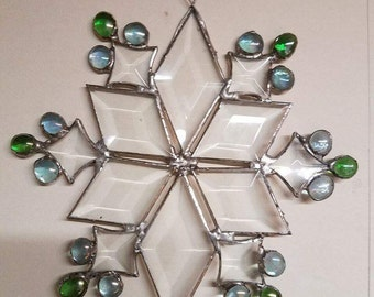 Large Blue and Green Snowflake