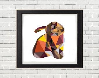 Modern Cross Stitch Pattern -Bunny Rabbit - Cute Geometric Counted Cross Stitch Pattern - PDF - Instant Download