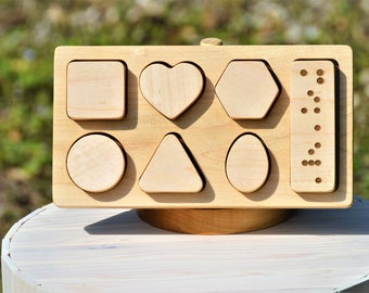 Pre braille shape sorter puzzle - tactile learning toy Free Personalization available