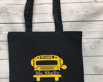 School Bus Driver Gift, Bus Driver Tote, Bus Driver Bag, Bus Driver Appreciation, Gifts for her, Personalized Tote Bags, Bus Drive Tote Bags