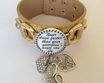 Leather Sweet Sixteen Bracelet, Leather Jewelry, Sweet 16 Jewelry, Sweet 16 Bracelet, Sweet 16 Gift, Sweet Sixteen Gift, 16th Birthday, 16