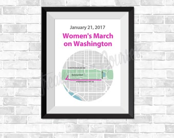 Women's March on Washington - Digital Download - Map, GPS Map, Running Map, Race Results, Running route