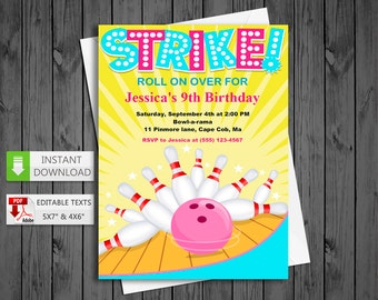 Printable invitation Bowling pink for Girls in PDF with Editable Texts, Bowling Invitation, edit and print yourself! - Instant Download!