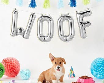"WOOF Letter Balloons | 16"" Silver Letter Balloons 