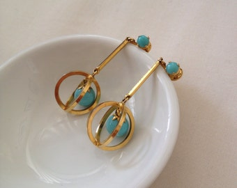 Vintage Turquoise Gold Tone Made in Austria Art Deco Dangling Golden Globe Earrings Light Sky Blue Retro Midcentury