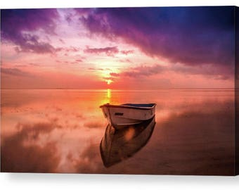 Seascape Sunset with Boat 008 Photo Canvas Box Art A4, A3, A2, A1 ++