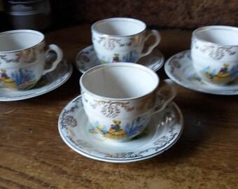 Tea party crinoline lady cups saucers