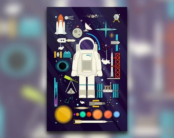 Space Collection - Outer Space Print - Astronaut Space Art Print - Astronomy Decor - Knolling Print - Graphic Design Poster