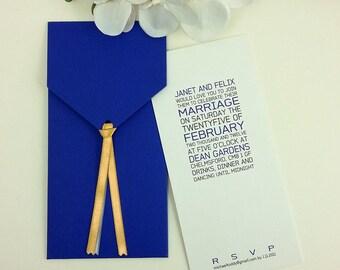 Navy Blue Wedding Invitation, Blue Wedding Invitation, Couture Invitation, Modern Wedding Invitations, Cute Invitations, 1 INVITATION