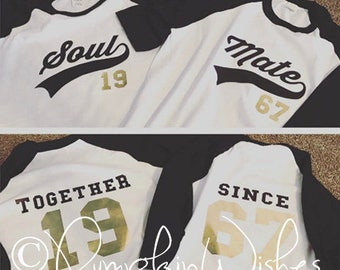 "Couples ""Together Since"" made-to-order custom Baseball T Shirt - Set of Two"