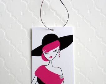 100 PRICE TAGS HANG Tags Retail Tags Boutique Tags Cute Black Hat Girl Merchandise Tags Clothing Tags With 100 Plastic Loops
