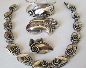 La Paglia Sterling Silver Necklace, Cuff, and Two Brooches