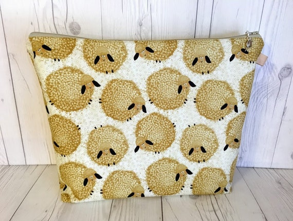 Zippered Knitting Bag : Sheep project bag knitting zippered by