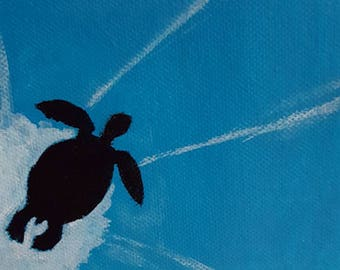 Clearance sale - acrylic painting, sea turtle