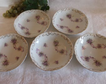 """Set of 5 Antique White Porcelain 5.5"""" Bowls with Gold Bows and Purple Flowers"""